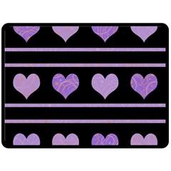 Purple harts pattern Double Sided Fleece Blanket (Large)
