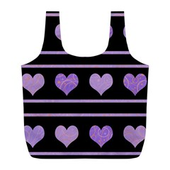 Purple harts pattern Full Print Recycle Bags (L)