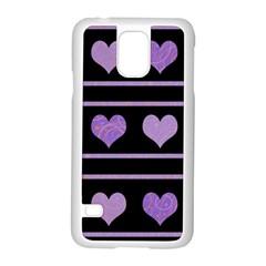 Purple harts pattern Samsung Galaxy S5 Case (White)