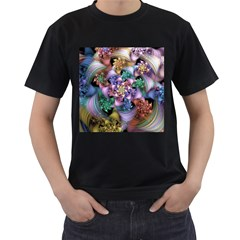 Bright Taffy Spiral Men s T-Shirt (Black) (Two Sided)