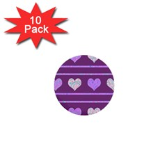 Purple harts pattern 2 1  Mini Buttons (10 pack)