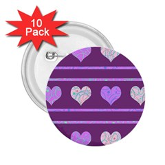 Purple harts pattern 2 2.25  Buttons (10 pack)