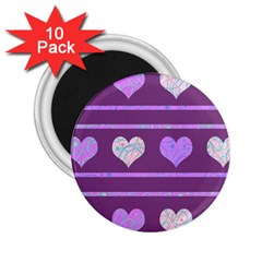 Purple harts pattern 2 2.25  Magnets (10 pack)