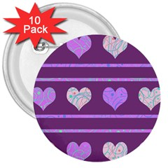 Purple harts pattern 2 3  Buttons (10 pack)