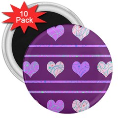 Purple harts pattern 2 3  Magnets (10 pack)