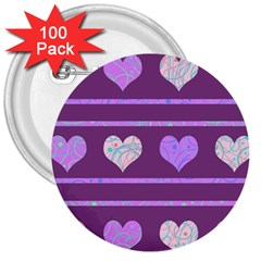 Purple harts pattern 2 3  Buttons (100 pack)