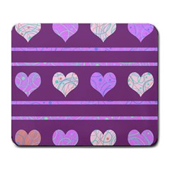 Purple harts pattern 2 Large Mousepads