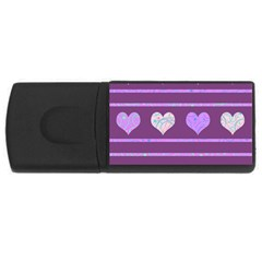 Purple harts pattern 2 USB Flash Drive Rectangular (2 GB)