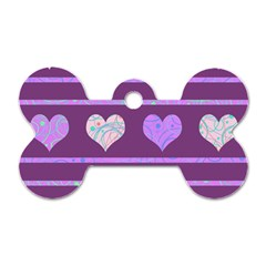 Purple harts pattern 2 Dog Tag Bone (Two Sides)