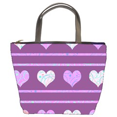 Purple harts pattern 2 Bucket Bags