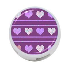 Purple harts pattern 2 4-Port USB Hub (Two Sides)