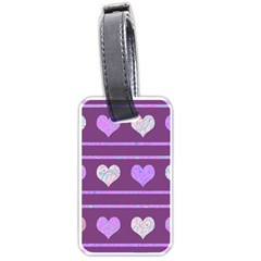 Purple harts pattern 2 Luggage Tags (One Side)