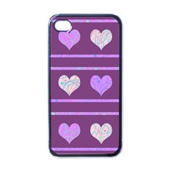 Purple harts pattern 2 Apple iPhone 4 Case (Black)