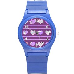 Purple harts pattern 2 Round Plastic Sport Watch (S)