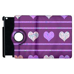 Purple harts pattern 2 Apple iPad 2 Flip 360 Case