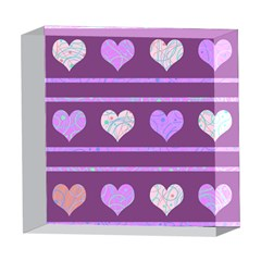 Purple harts pattern 2 5  x 5  Acrylic Photo Blocks
