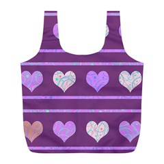Purple harts pattern 2 Full Print Recycle Bags (L)