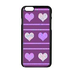Purple harts pattern 2 Apple iPhone 6/6S Black Enamel Case