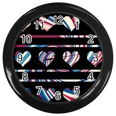 Colorful harts pattern Wall Clocks (Black)