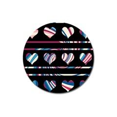 Colorful harts pattern Magnet 3  (Round)