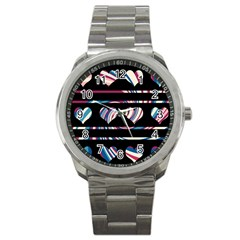 Colorful harts pattern Sport Metal Watch