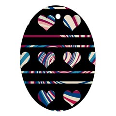 Colorful harts pattern Oval Ornament (Two Sides)