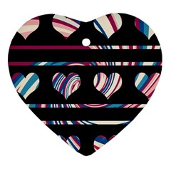 Colorful harts pattern Heart Ornament (2 Sides)