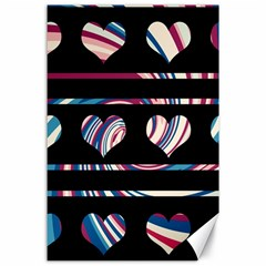 Colorful harts pattern Canvas 24  x 36