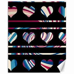 Colorful harts pattern Canvas 11  x 14