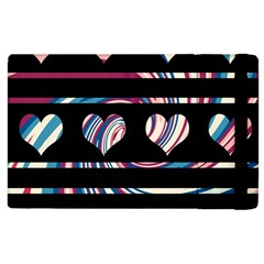 Colorful harts pattern Apple iPad 2 Flip Case