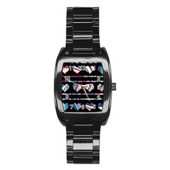 Colorful harts pattern Stainless Steel Barrel Watch