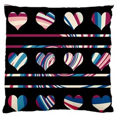 Colorful harts pattern Large Flano Cushion Case (One Side)