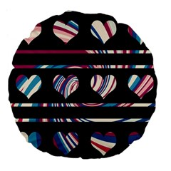 Colorful harts pattern Large 18  Premium Flano Round Cushions