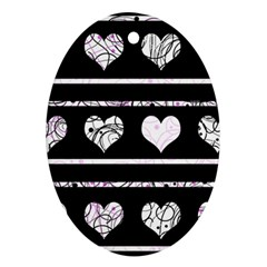 Elegant harts pattern Oval Ornament (Two Sides)
