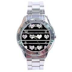 Elegant harts pattern Stainless Steel Analogue Watch