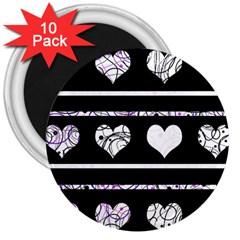 Elegant harts pattern 3  Magnets (10 pack)