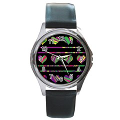 Colorful harts pattern Round Metal Watch
