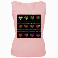 Colorful harts pattern Women s Pink Tank Top