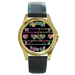 Colorful harts pattern Round Gold Metal Watch