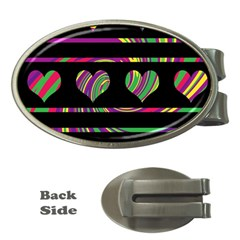 Colorful harts pattern Money Clips (Oval)