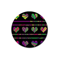 Colorful harts pattern Rubber Round Coaster (4 pack)