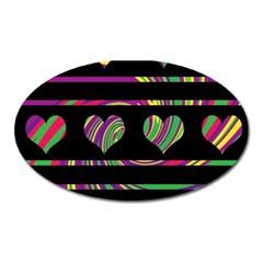 Colorful harts pattern Oval Magnet