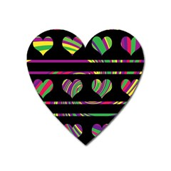 Colorful harts pattern Heart Magnet