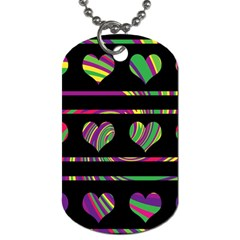 Colorful harts pattern Dog Tag (One Side)