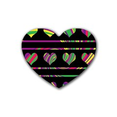 Colorful harts pattern Rubber Coaster (Heart)