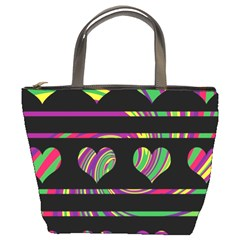 Colorful harts pattern Bucket Bags