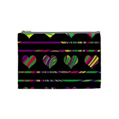 Colorful harts pattern Cosmetic Bag (Medium)