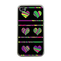 Colorful harts pattern Apple iPhone 4 Case (Clear)