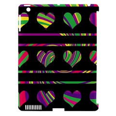 Colorful harts pattern Apple iPad 3/4 Hardshell Case (Compatible with Smart Cover)