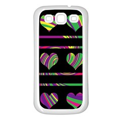Colorful harts pattern Samsung Galaxy S3 Back Case (White)